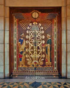 Decopix - The Art Deco Architecture Site - Woodwork, Leather & Linoleum Gallery - leather covered doors, Hildreth Meire