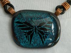 Butterfly Fused Glass Dichroic Teal Blue Green by uniquenique, $28.00 #handmade #onfireteam #teamfest #pendant #jewelry #accessories