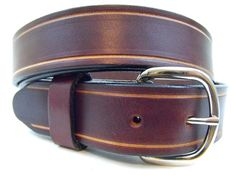 Saddle Groove 35mm Leather belt Hand Made In America Rich Brown. $42,95, via Etsy.