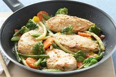 Skillet Chicken & Vegetables Parmesan recipe, with only 4 net carbs!