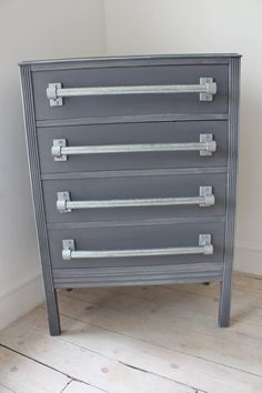 Refurbished Vintage Grey Chest of Drawers with Industrial Galvanised Steel Pipe Drawer Pull Handles - A fusion of vintage and modern - Made with Kee Klamp Fittings