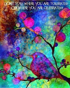 bird paintings, little birds, collage art, art prints, inspir