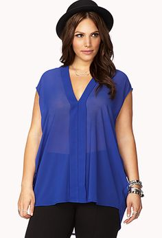 High-Low Y-Neck Top | FOREVER21 PLUS - 2040896629