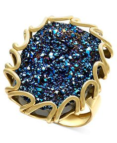 14k Gold Ring, Blue Druzy Ring - Rings - Jewelry & Watches - Macy's #divorcering: #trashthedress #divorce