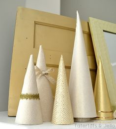 DIY Metallic Fabric Cone Trees at Tatertots and Jello-- #DIY #Christmas