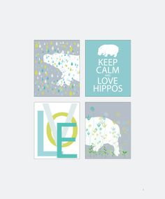 Hippo Nursery Decor Hippo Print Set 4 Hippopotamus Home Decor Keep Calm and Love Hippos Wall Art Decoration Wall Artwork Illustration Cute. $45.00, via Etsy.
