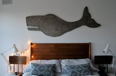 Hand-painted whale and west elm's Mid Century Bed
