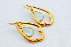 Aqua Blue Chalcedony Gold Chandelier, Gold Aqua Blue Teardrop Chandelier, Chandelier Earrings, Statement Earrings on Etsy, $66.00
