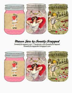 Valentine Mason Jars, Free Printable