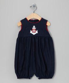 Navy Anchor Bubble Romper - Infant