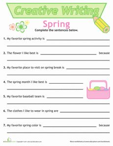 Creative Sentence Writing: Spring Worksheet freebie