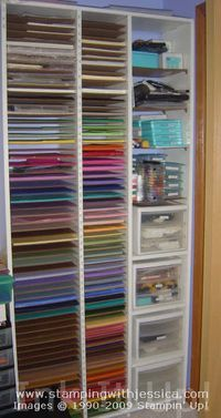 Craft Supply Organization: Paper Shelf--So, if you are handy or have someone that is, here are the plans for building a paper shelf like the one you see here.