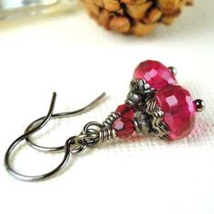 Christmas Earrings Red and Black Earrings Holiday by pink80sgirl, $23.00