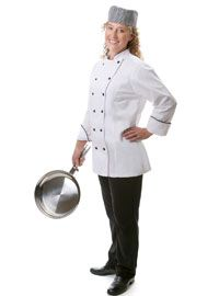 Womens Executive Chef Coat with Black Piping from Best Buy Uniforms. To see more womens chef uniforms click here http://www.bestbuyuniforms.com/listing.asp?cid=16