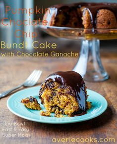 The Best Pumpkin Chocolate Chip Bundt Cake with Chocolate Ganache - The softest, moistest and best pumpkin cake! Easy & everyone LOVES it!