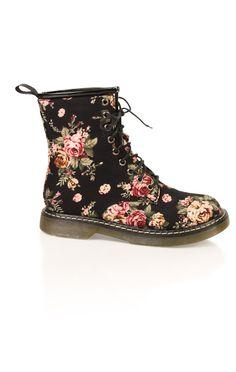 Deb Shops #floral lace up #combat #boot
