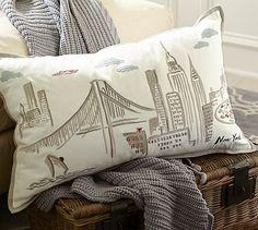 New York City Embroidered Lumbar Pillow Cover #potterybarn
