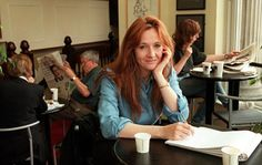 JK Rowling in the cafe in Edinburgh where she started writing Harry Potter
