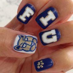 FIU school spirit nails