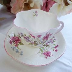 Older Shelley Teacup and Saucer w/Pink and Purple Floral Spray - 1938 to 1966