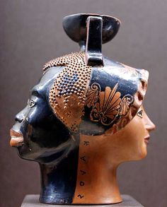 Ethiopian's head and female head, with a kalos inscription. Attic janiform red-figure aryballos, ca. 520–510 BC. From Greece.