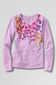 Girls' Long Sleeve Picot Edge Holiday Graphic T-shirt from Lands' End