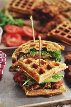 Fried Chicken and Waffle Sandwiches...might need to buy an waffle iron just for this recipe... candid appetit, sandwiches, best sandwich, food, waffles, fri chicken, fried chicken, green onions, waffl sandwich