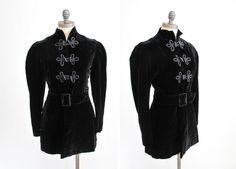Antique Edwardian Velvet Jacket : Vintage 1910s Black Toggle Princess Coat. $168.00, via Etsy.