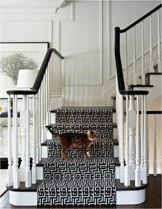 black + white staircase with greek key runner