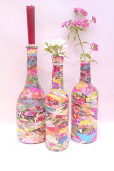 CrafTea Home Made Glue Decoupage + bottles + magazines = colourful vintage style vases/candlesticks check out our tutorial!