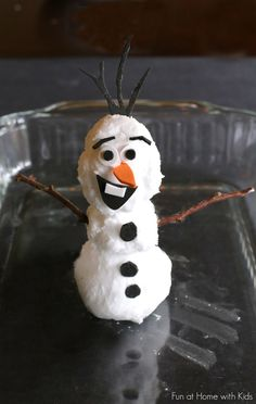 For the FROZEN fans - a Magic Foaming Olaf!  Make Olaf out of Foaming Dough then melt him down to a frothy ice cold foam.  You can use more dough to make him again!  Lots of silly fun!  From Fun at Home with Kids