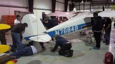Hinds Community College Aviation A&P airframe maintenance class performing good practice airframe maintenance by changing all control cables on a 1946 Cessna 120.