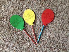 Balloons for kids birthdays  Use pixy stix or crazy straws for string