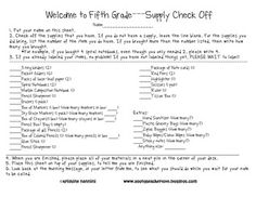 This is a 5th grade supplies check list that will be on every student's table at the beginning of the year.