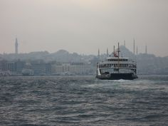 Unusual view of the Blue Mosque in Istanbul on a misty day