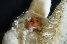 Primitive Folk Art ANTIQUE QUILT Santa Doll by Melissa Zietz original 2012