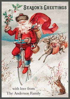 Vintage Santa Flat Holiday Cards