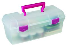 ArtBin Essentials Lift Out Tray with Raspberry Latches and Handle, Translucent
