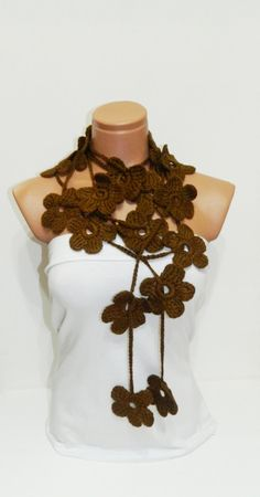Hand made crochet Brown Flower Lariat Scarf by WomanStyleStore, $23.90