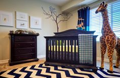 Project Nursery - Blue and White Chevron Rug