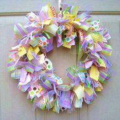easter wreaths | Wreath, Easter Decoration, Spring Wreath, Ribbon Wreath, Fabric Wreath ...