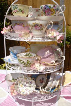 vintage teacups, tea time, tea sets, teas, cake stands, vintage china, display, tea cup, parti