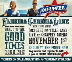 "Florida-Georgia Line's ""Here's To Good Times Tour 2013"" with special guests Colt Ford and Tyler Farr are performing at Chaifetz Arena on November 1st!  Cruise to the front row - Register to win a pair of front row tickets!  Tickets on sale August 9th at tickermaster.com"