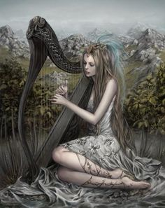 harp, music, artists, magic, fairies, artworks, fantasi art, beauti, goddess