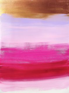 Abstract Pink, Gold, Yellow Acrylic Original Painting - Modern Home Decor.