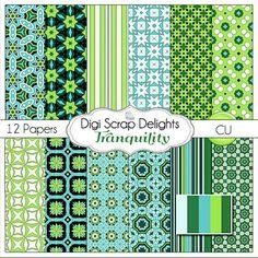 Tranquility Digital Scrapbook Paper in #Aqua #green #black by DigiScrapDelights