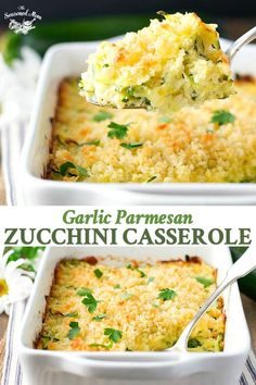 Garlic Parmesan Zucchini Casserole is an easy side dish recipe! A fresh and healthy side dish for any dinner! #casserole #zucchini #sidedish