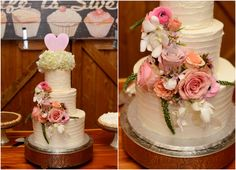 Texas ranch wedding cake with flowers