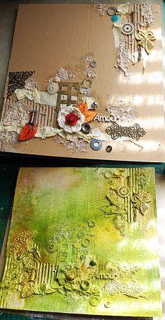 Fond de page en patouille sur du carton ondulé. -- creating texture, then unifying the look with color.