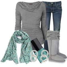 Teal Scarf and Grey Boots :)